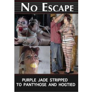 No Escape - Purple Jade Sripped to Pantyhose and Hogtied